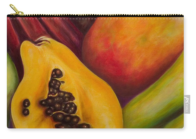 Tropical Fruit Still Life: Mangoes Carry-all Pouch featuring the painting Solo by Shannon Grissom