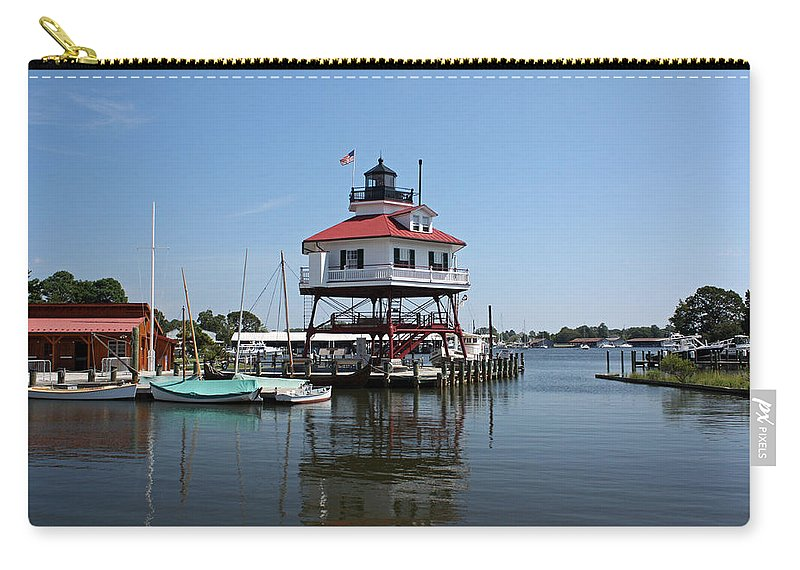 Solomons Carry-all Pouch featuring the photograph Solomons Island - Drum Point Lighthouse Reflecting by Ronald Reid