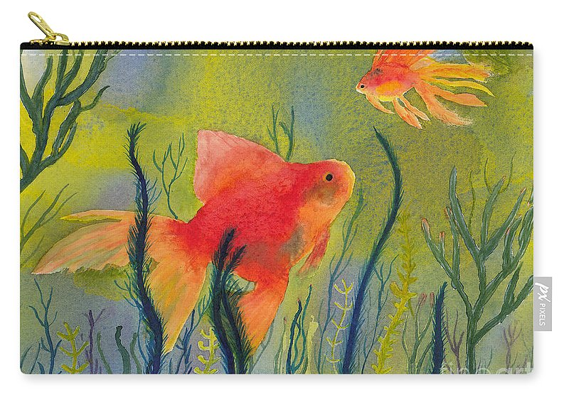 Fish Carry-all Pouch featuring the painting Something Fishy Going On by Conni Schaftenaar