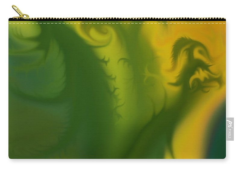 Mythical Beings Carry-all Pouch featuring the photograph Something Green by Harold Zimmer