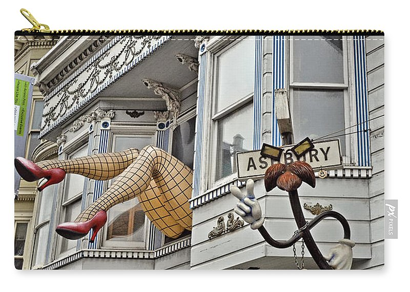 Two Giant Fishnetted Legs Carry-all Pouch featuring the photograph Something To Find Only The In The Haight Ashbury by Jim Fitzpatrick