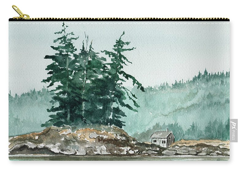 Landscape Watercolor Scenery Scenic Nature Wilderness Cabin Shack Trees Water Rural Carry-all Pouch featuring the painting Sometimes A Great Notion by Brenda Owen
