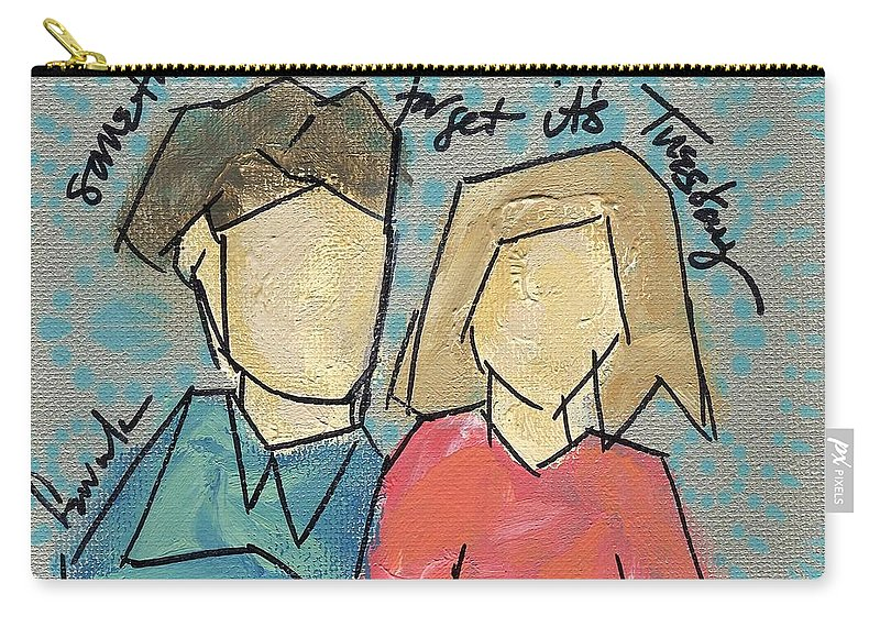 Couples Carry-all Pouch featuring the painting sometimes you forget it's Tuesday by Hew Wilson