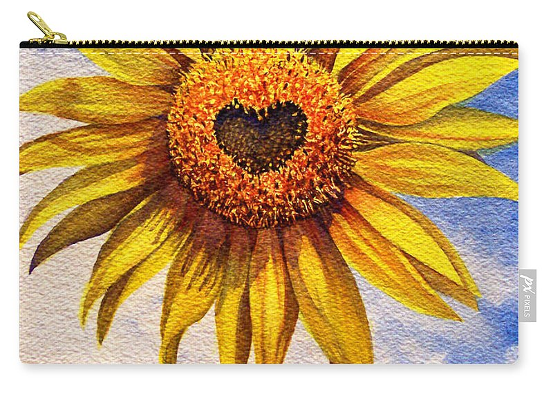 Sunflower Carry-all Pouch featuring the painting Son Kissed by Nancy Cupp