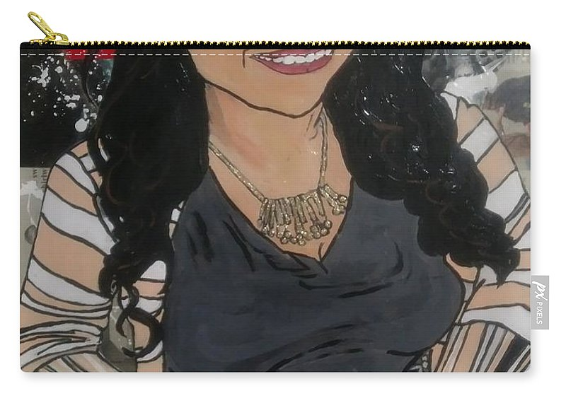 Carry-all Pouch featuring the mixed media Sonia by Dele Akerejah