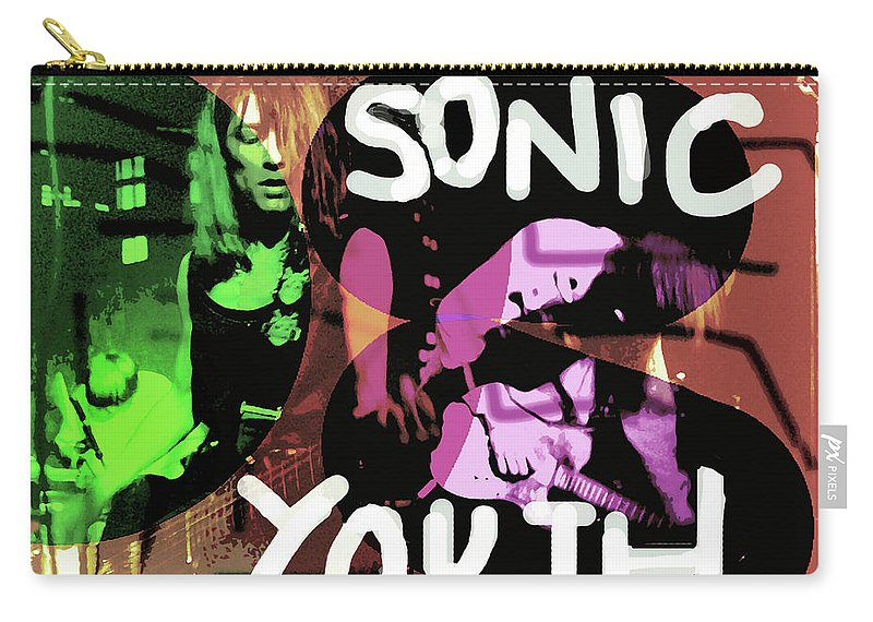 Sonic Youth Carry-all Pouch featuring the mixed media Sonic Youth Poster by Enki Art