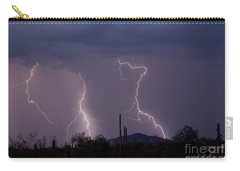 Lightning Carry-all Pouch featuring the photograph Sonoran Storm by James BO Insogna