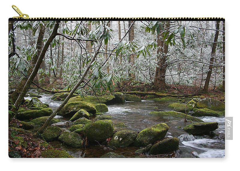 River Stream Creek Water Nature Rock Rocks Tree Trees Winter Snow Peaceful White Green Flowing Flow Carry-all Pouch featuring the photograph Soothing by Andrei Shliakhau