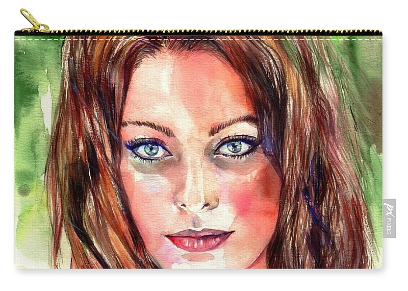 Sophia Carry-all Pouch featuring the painting Sophia Loren Portrait by Suzann Sines