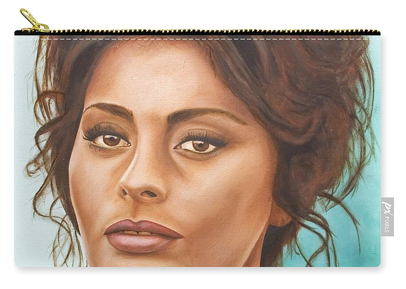 Moviestar Carry-all Pouch featuring the painting Sophia Loren by Rob De Vries