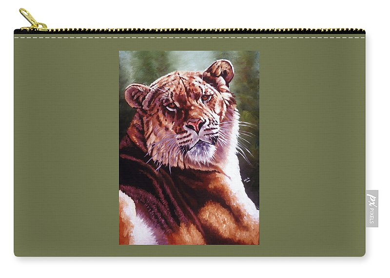 Hybrid Carry-all Pouch featuring the painting Sophie The Liger by Barbara Keith