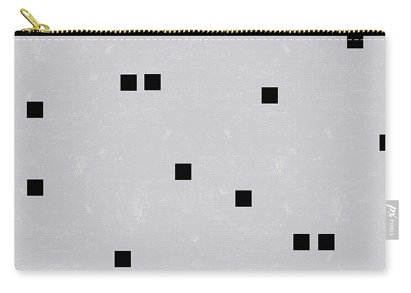 Sophisticated Carry-all Pouch featuring the digital art Sophisticated Decor Pattern, Black Square Confetti, Grey Linen Texture by Tina Lavoie