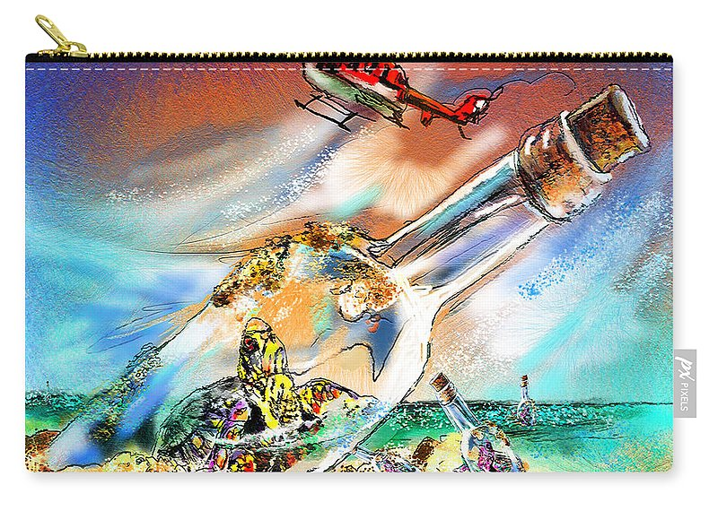 Turtles Carry-all Pouch featuring the painting Sos To The World by Miki De Goodaboom