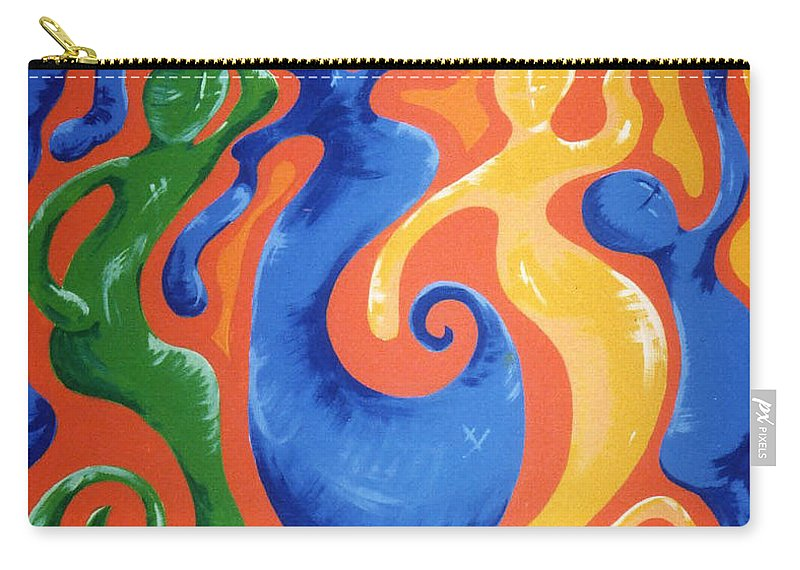 Carry-all Pouch featuring the painting Soul Figures 3 by Catt Kyriacou