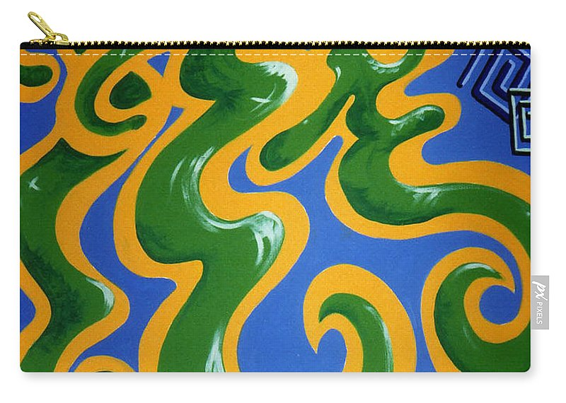 Cyprus Art Carry-all Pouch featuring the painting Soul Figures 4 by Catt Kyriacou