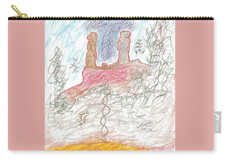 Soul Mates Carry-all Pouch featuring the drawing Soul Mates by Mark David Gerson