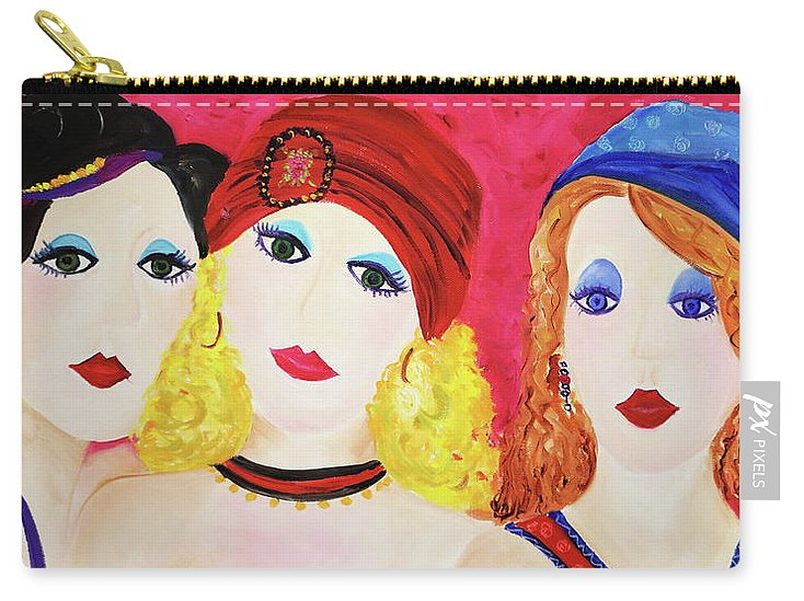 Girls Carry-all Pouch featuring the painting Soul Sisters by Jenny Be