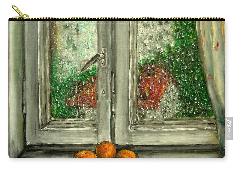 Rain Carry-all Pouch featuring the painting Sound Of Rain Oil Painting by Natalja Picugina
