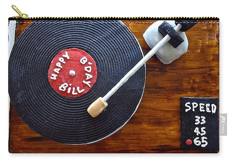Birthday Cake Carry-all Pouch featuring the photograph Record Player Cake by Elisabeth Derichs