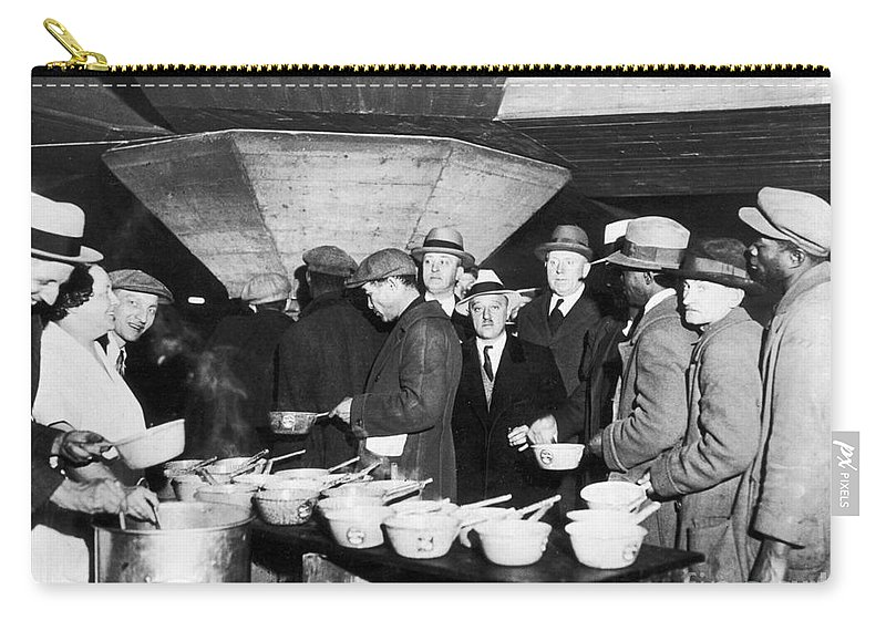 1931 Carry-all Pouch featuring the photograph Soup Kitchen, 1931 by Granger