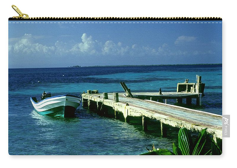 Boat Carry-all Pouch featuring the photograph South Caye Belize Boat Dock by Gary Wonning