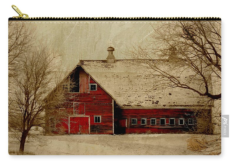 Red Carry-all Pouch featuring the digital art South Dakota Barn by Julie Hamilton