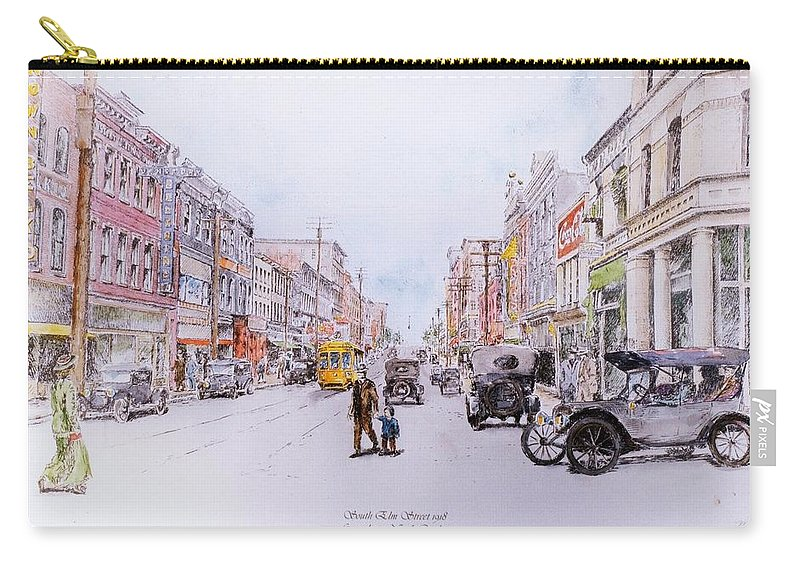 Print Greensboro History Carry-all Pouch featuring the painting South Elm Street 1918 by Maggie Clark