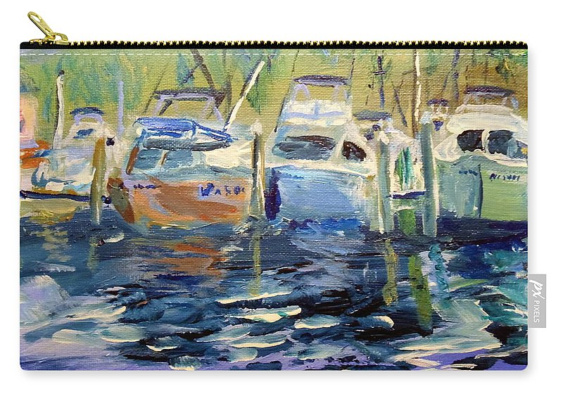 Southport Nc Carry-all Pouch featuring the painting South Harbor Dawn by Max Bowermeister