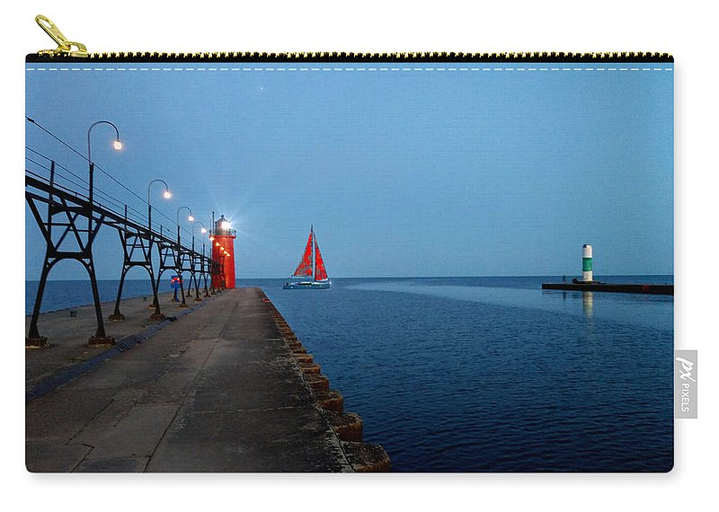 South Haven Carry-all Pouch featuring the photograph South Haven Lighthouse Pier by Michael Rucker