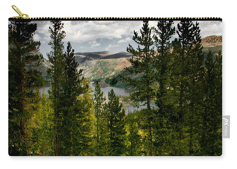 South Lake Through The Pines Carry-all Pouch featuring the photograph South Lake Through The Pines by Chris Brannen