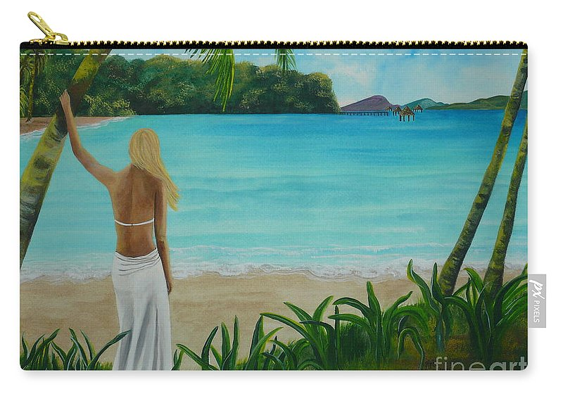 Tropical Carry-all Pouch featuring the painting South Pacific Dreamin by Kris Crollard