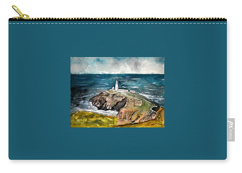 South Stack Lighthouse Carry-all Pouch featuring the painting South Stack Lighthouse by Derek Mccrea