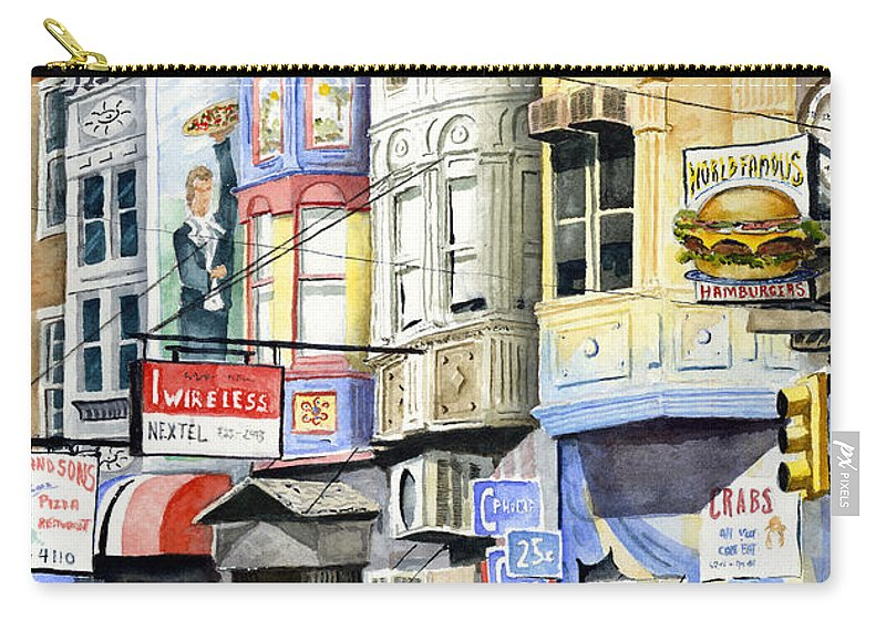 Street Carry-all Pouch featuring the painting South Street by Sam Sidders