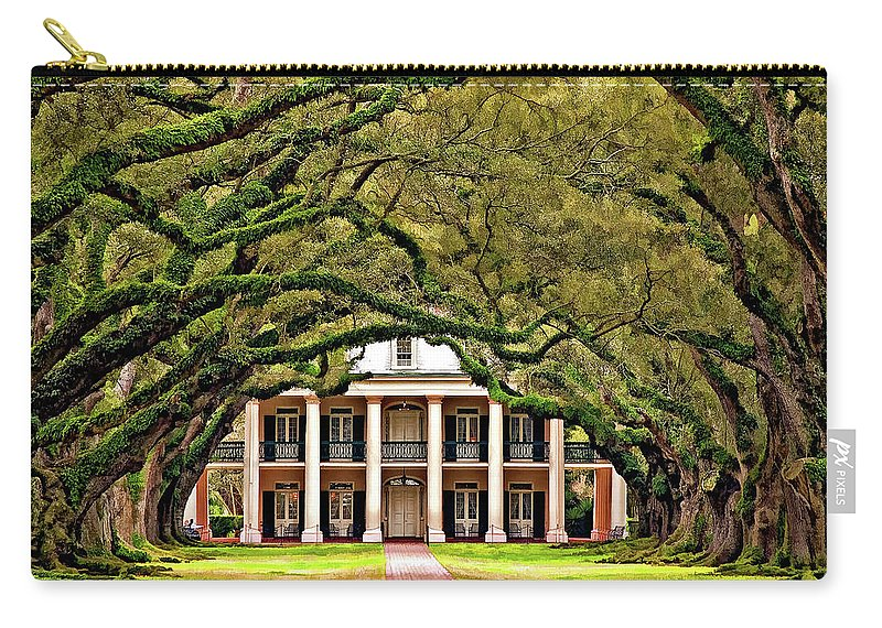 Oak Alley Plantation Carry-all Pouch featuring the photograph Southern Class Painted by Steve Harrington