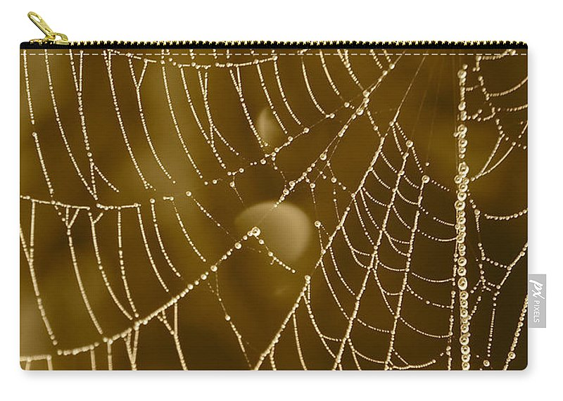 Dewdrops On Spider Web Carry-all Pouch featuring the photograph Southern Pearls by Carol Groenen