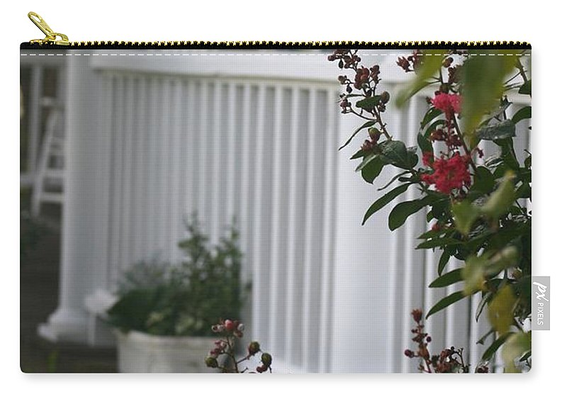 Summer Carry-all Pouch featuring the photograph Southern Summer Flowers And Porch by Nadine Rippelmeyer
