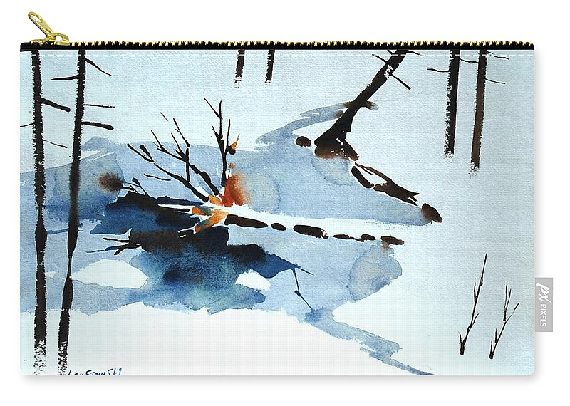 Green Mountains Of Vermont Artist. Green Hills Painters Carry-all Pouch featuring the painting Southern Vermont Roadside Runoff by Len Stomski