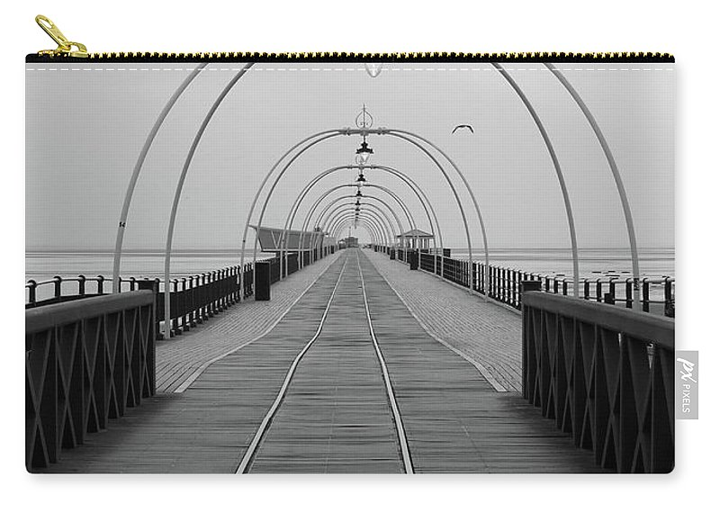 Pier Carry-all Pouch featuring the photograph Southport Pier At Sunset With Walkway And Tram Lines by Philip Openshaw