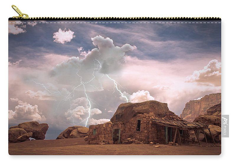 Lightning Strikes; Lightning; Nature; Landscapes; Southwest Desert; Rustic; Thunderstorms; Fine Art Carry-all Pouch featuring the photograph Southwest Navajo Rock House And Lightning Strikes by James BO Insogna