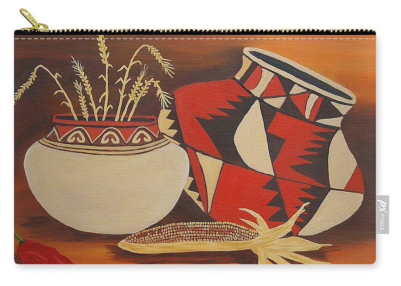 Still Life Carry-all Pouch featuring the painting Southwest Pottery by Ruth Housley