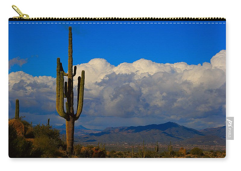 Southwest Carry-all Pouch featuring the photograph Southwest Saguaro Desert Landscape by James BO Insogna