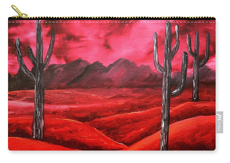 Red Carry-all Pouch featuring the painting Southwestern Abstract Oil Painting by Derek Mccrea