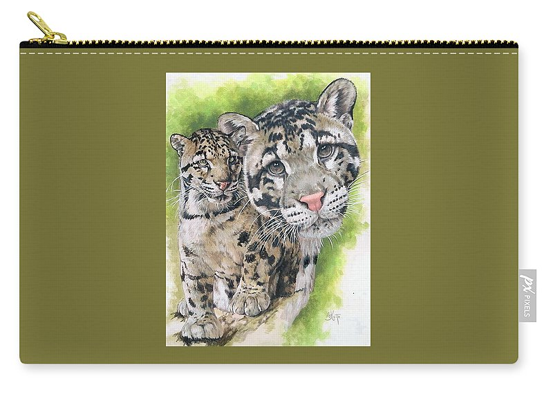 Clouded Leopard Carry-all Pouch featuring the mixed media Sovereignty by Barbara Keith
