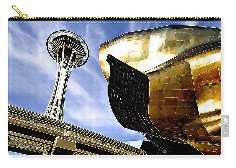 Space Carry-all Pouch featuring the photograph Space Needle by Robert Ponzoni