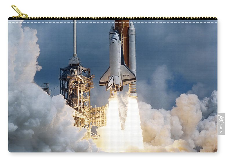 Color Image Carry-all Pouch featuring the photograph Space Shuttle Launching by Stocktrek Images