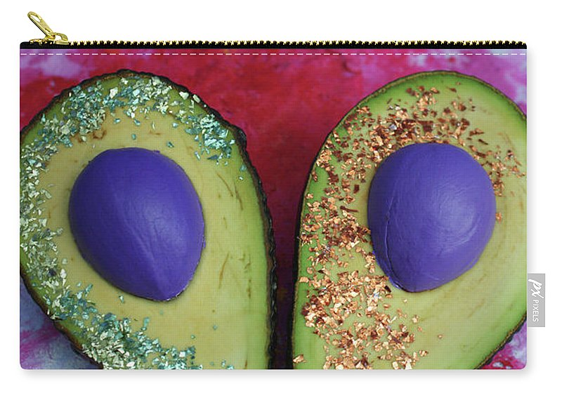 Spaceocados Space Avocado Carry-all Pouch featuring the mixed media Spaceocados 1 by Judy Henninger