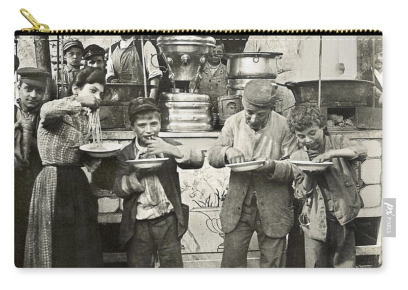 1908 Carry-all Pouch featuring the photograph Spaghetti Vendor, C1908 by Granger