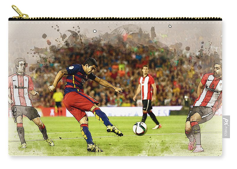 Home Art & Collectibles Carry-all Pouch featuring the digital art Spain Spanish Super Cup by Don Kuing