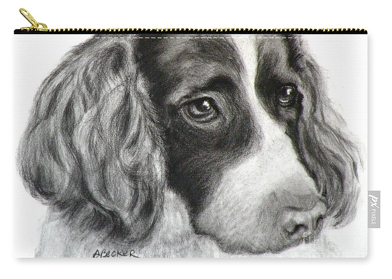 Dogs Carry-all Pouch featuring the painting Spaniel Drawing by Susan A Becker