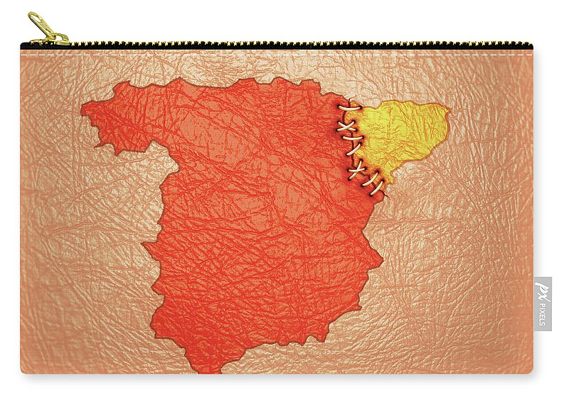 Catalonia Carry-all Pouch featuring the digital art Spanish And Catalonia Tattoo With Stitches by Sergio Lacueva